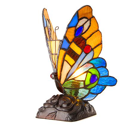 Tiffany-Style Orange Butterfly Art Glass Accent Lamp