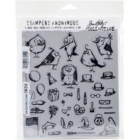"""Tim Holtz Cling Stamps 7"""" x 8.5"""" - Mini Bird Crazy and Things"""