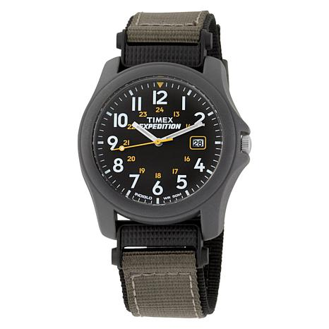 Timex Men's Expedition Black Dial Green/Black Nylon Strap Watch
