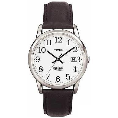 Timex Men's Silvertone EZ-Reader Black Strap Watch