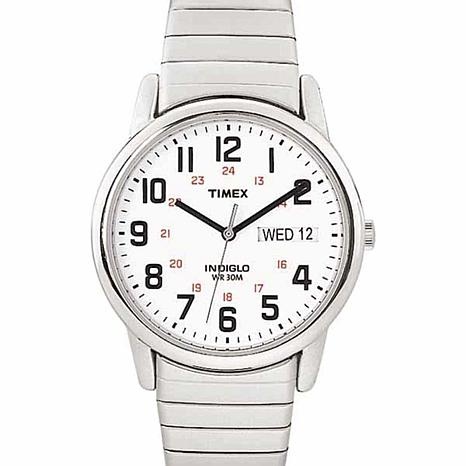 Timex Men's Stainless Steel White Dial EZ-Reader Expansion Band Watch