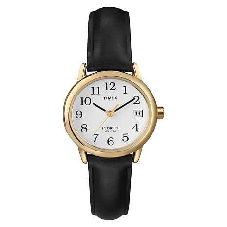 Timex Women's Classic Goldtone EZ-Reader Black Leather Strap Watch