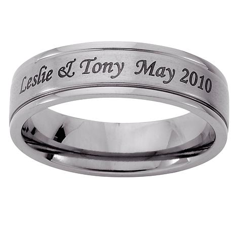 Titanium Engraved Beveled Band Ring