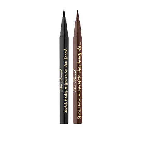 Too Faced Lined & Defined Sketch Marker  Duo - Black/Deep Espresso