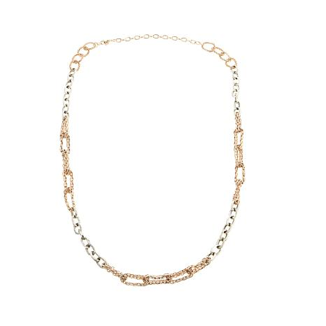"Touch of Cyn Chain-Link 2-Tone 52"" Station Necklace"