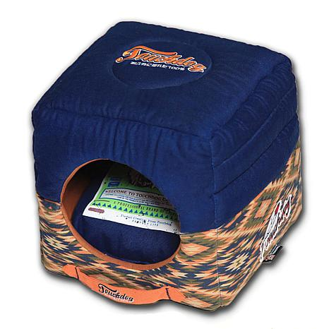 Touchdog Tribal Square Convertible 2-in-1 Collapsible Dog House Bed
