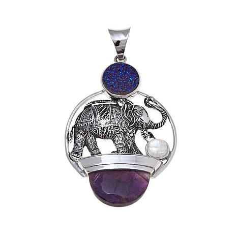 Traveler's Journey Drusy and Multigem Elephant Pendant