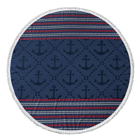 Turkish Cotton Round Beach Towel - Anchor