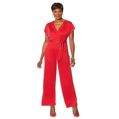 Vanessa Williams Comfort Zone Knit Belted Cap-Sleeve Jumpsuit