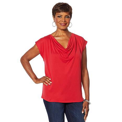 Vanessa Williams Comfort Zone Knit Front Drape Top