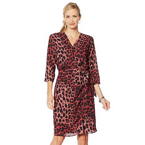 Vanessa Williams Essential V-Neck Side Tie Wrap Dress