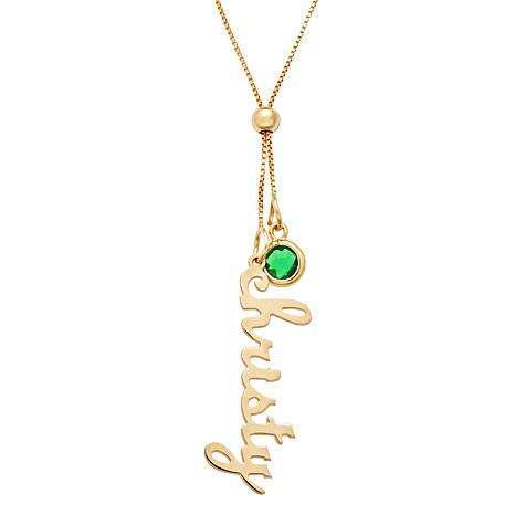 Vertical Name & Birthstone Crystal Adjustable Necklace