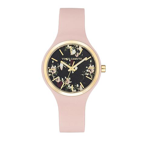Vince Camuto Women's Floral Dial Light Pink Silicone Strap Watch