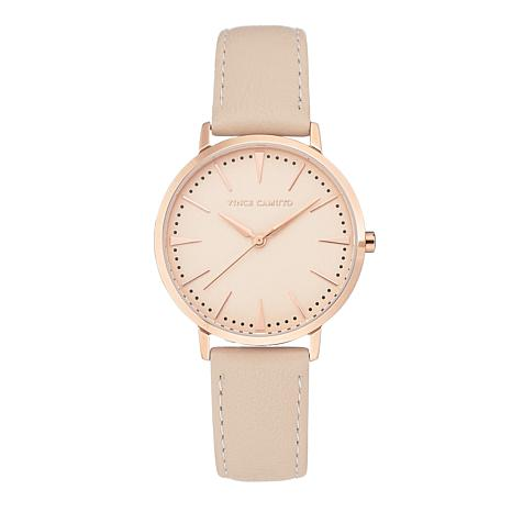 Vince Camuto Women's Rosetone Light Pink Leather Strap Watch