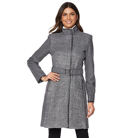 Vince Camuto Wool-Blend Belted Boucle Coat - 8137034 | HSN