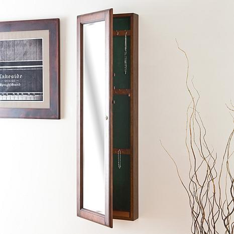 Wall-Mount Jewelry Mirror - Warm Brown Walnut
