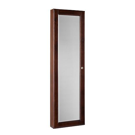 Wall-Mount Jewelry Mirror - Warm Brown Walnut - 6221941   HSN
