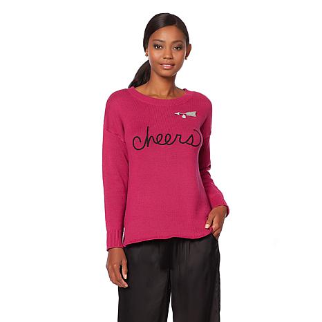Wendy Williams Embroidered Word Sweater