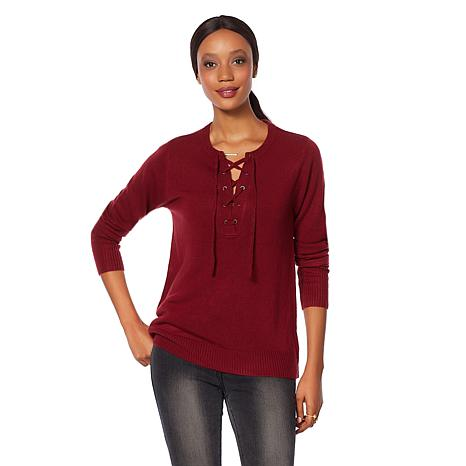 Wendy Williams Lace-Up Sweater