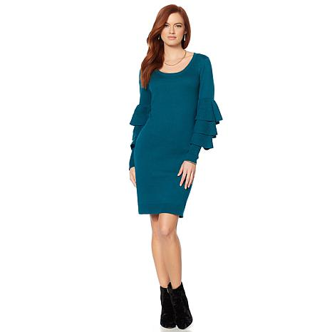 Wendy Williams Ruffle-Sleeve Scoop-Neck Dress