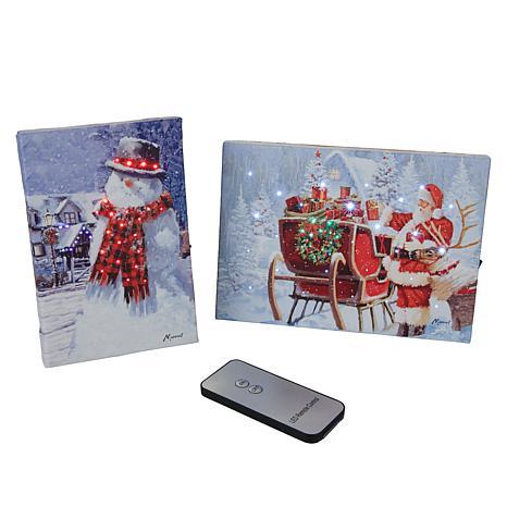 Winter Lane 2-piece Merry Christmas Mini Canvas Set
