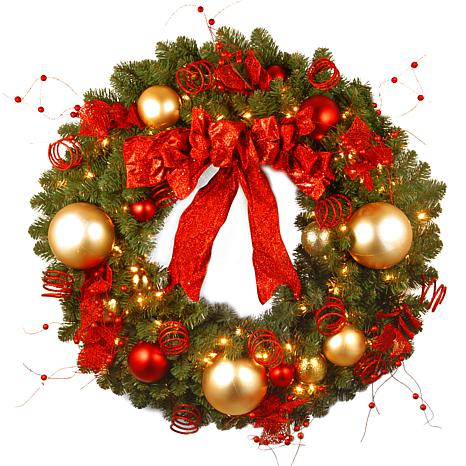 "Winter Lane 36"" Decorative Coll. Cozy Wreath w/Lights"
