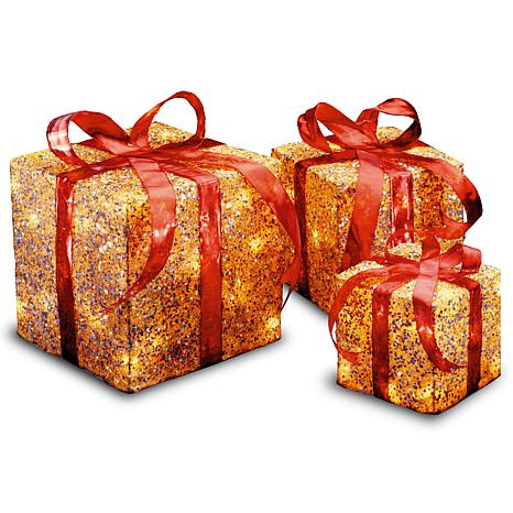"""Winter Lane 6""""/8""""/10"""" Assorted Gold Sisal Gift Boxes"""