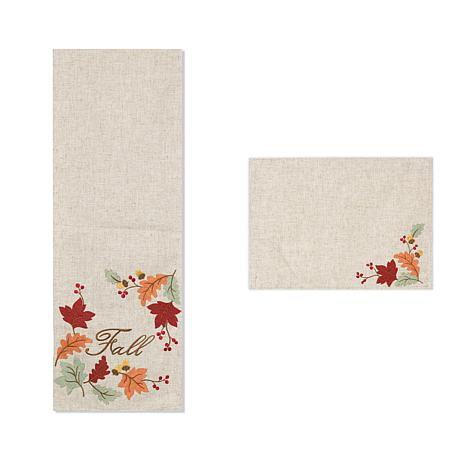 Winter Lane Fall Embroidered Leaf Table Runner and Set of 4 Placemats