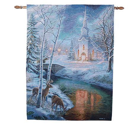 Winter Lane Holy Night Fiber-Optic Christmas Tapestry