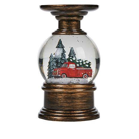 Winter Lane Lighted Truck Water Globe Candle Holder