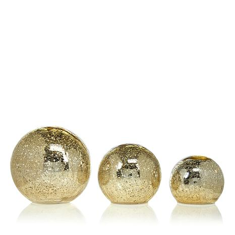 Winter Lane Set of 3 Lit Mercury Glass Spheres