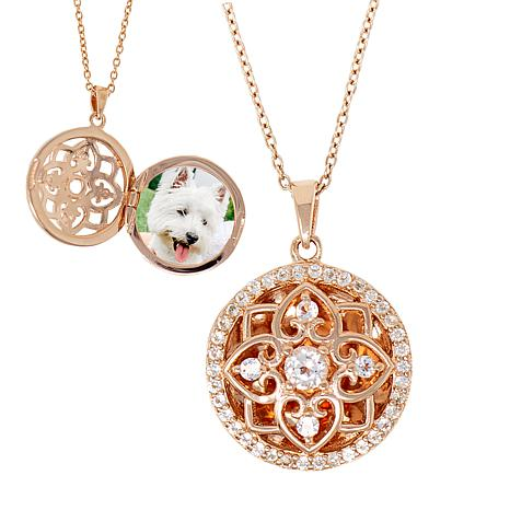 "With You Lockets™ Rose Gold-Plated ""Elsie"" White Topaz Locket"