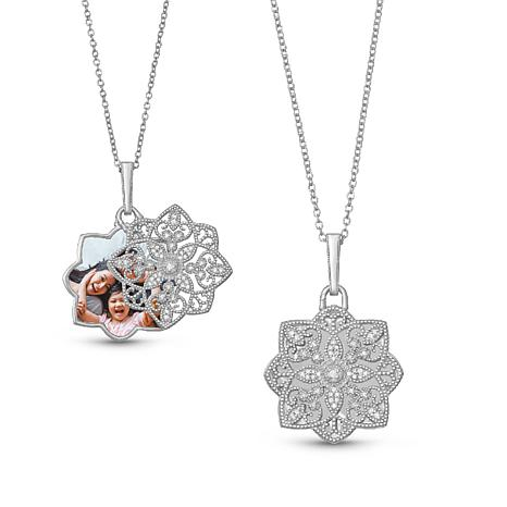 """With You Lockets™ Sterling Silver .15ctw Diamond """"Paloma"""" Pendant"""