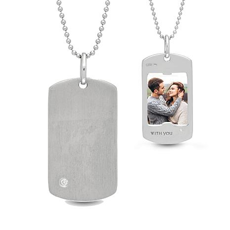 """With You Lockets™ Sterling Silver """"Henry"""" Dog Tag Photo Pendant"""