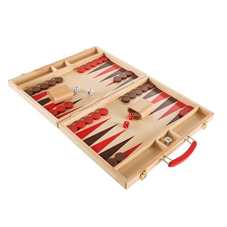 Wood Backgammon Board Game- Complete Set With Folding ...