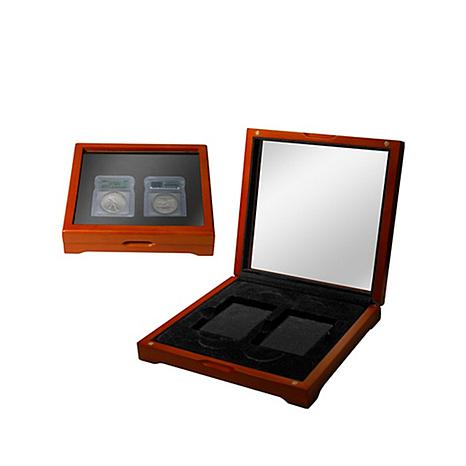 Wooden Display Box with Window for 2 Slabbed Coins