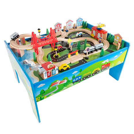 Wooden Train Set Table for Kids by Hey! Play!
