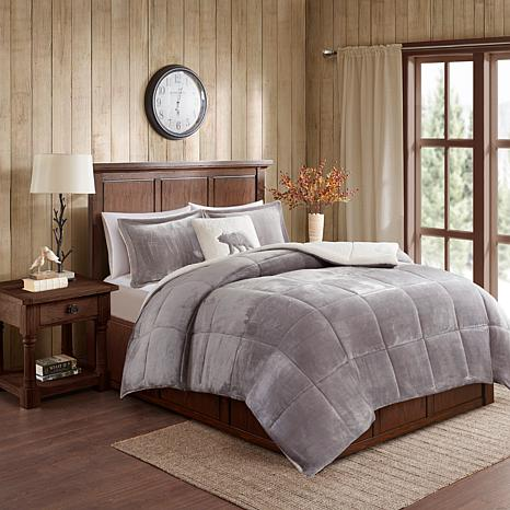Woolrich Alton 3-piece Gray/Ivory Plush to Sherpa Twin Comforter Set