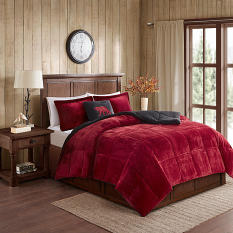 Woolrich Alton 4-pc Red/Black Plush to Sherpa Full/Queen Comforter Set