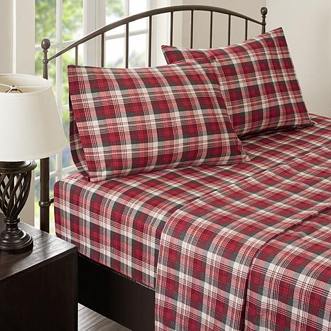 Woolrich Cotton Flannel Red Sheet Set Cal King 8588441 Hsn