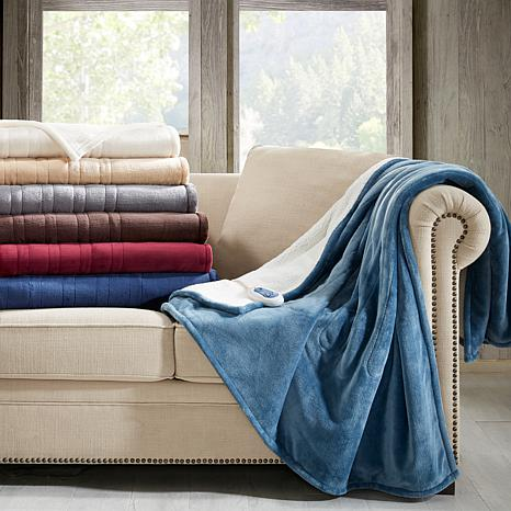 Woolrich Heated Plush-to-Berber Oversized Heated Throw