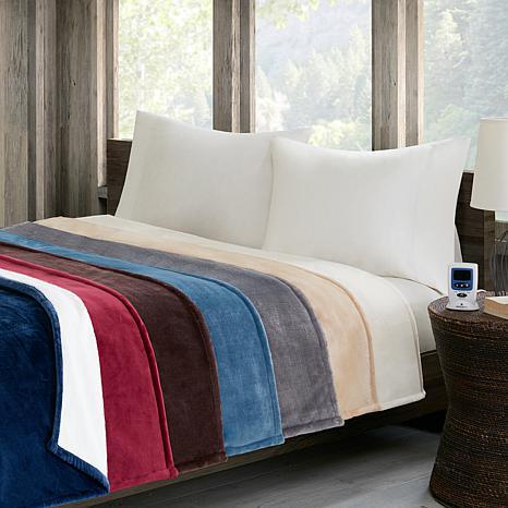 Woolrich Plush to Berber Heated Blanket - Full/Gray