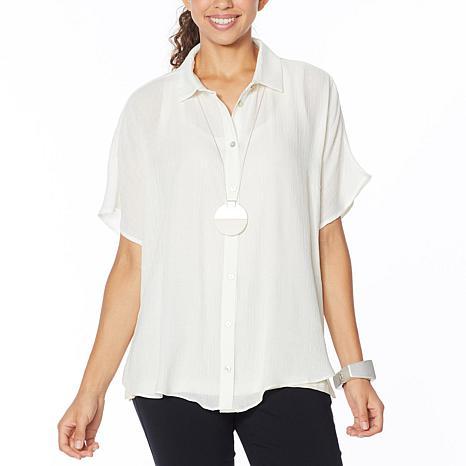 WynneLayers Extended Shoulder Crinkled Shirt