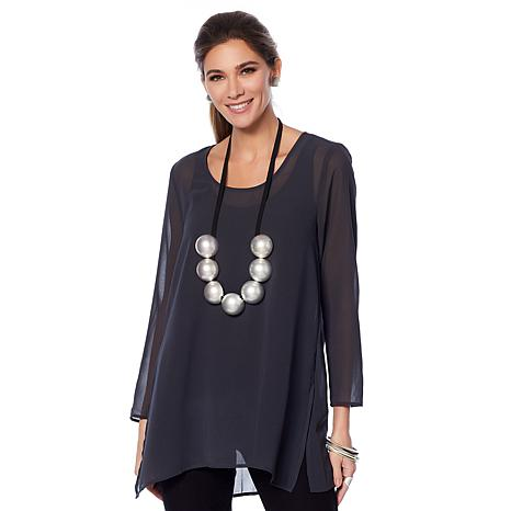 WynneLayers Long Sleeve Chiffon Tunic