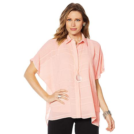 WynneLayers Striped Poncho Shirt