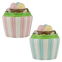 10 Strawberry Street Easter Egg Cupcake 2-pck - Pink/White, Blue/White