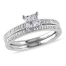 10K White Gold 0.32ctw Princess and Round Diamond Ring