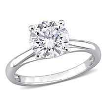 10K White Gold 2ctw Moissanite Round Solitaire Engagement Ring