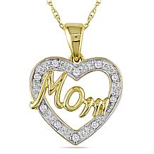 "10K Yellow Gold and Diamond Heart-Shaped ""Mom"" Pendant"
