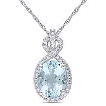 1.55ctw Aquamarine & Diamond 10K Gold Infinity Pendant